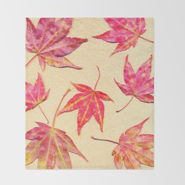 Japanese maple leaves - coral red on pale yellow Throw Blanket
