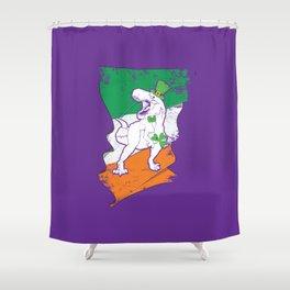 Distressed Irish Flag St Patricks Dinosaur Purple Shower Curtain