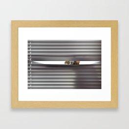 Curious cat looking through blinds Framed Art Print