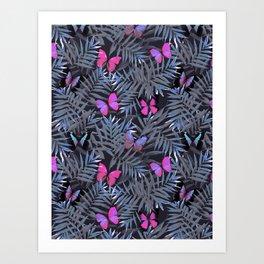 Butterflies Night Dance Art Print