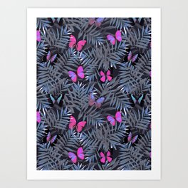 Butterflies Night Dance Art Print
