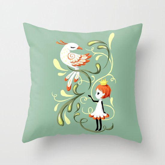 Princess and a Bird Throw Pillow