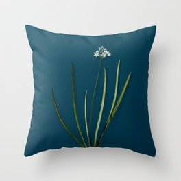 Vintage Flower Spring Squill Botanical on Teal Throw Pillow