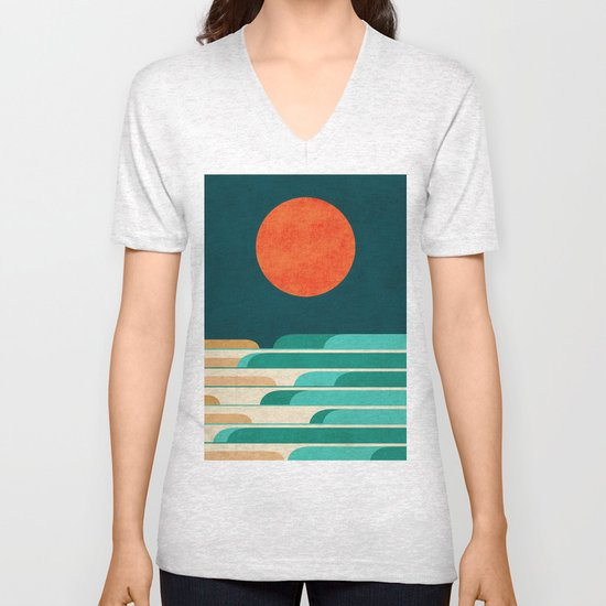 Chasing wave under the red moon Unisex V-Neck