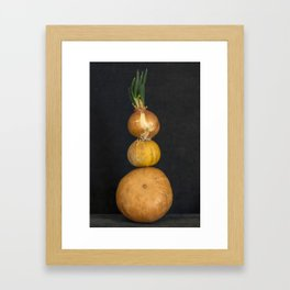 Still life with several pumpkins and sprouted onions Framed Art Print