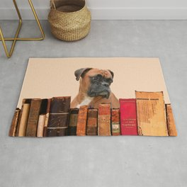 Old Books and Boxer Dog Rug