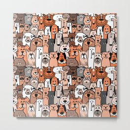 Doodle dogs and cats seamless pattern Metal Print