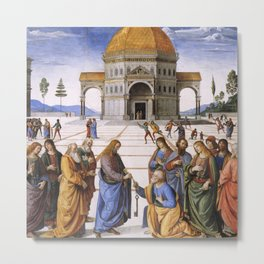 The Delivery of the Keys Painting by Perugino Sistine Chapel Metal Print