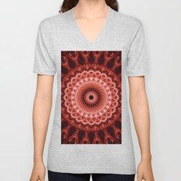 Mandala in deep red tones Unisex V-Neck