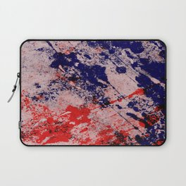 Hot And Cold - Textured Abstract In Blue, Red And Black Laptop Sleeve