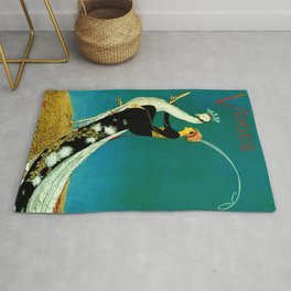 Vintage 1920's Jazz Age Flapper with White Peacock Poster Rug