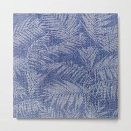 Tropical pattern on blue jeans Metal Print