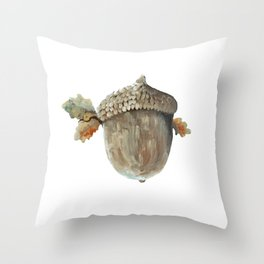 Fall acorn and oak leaves Throw Pillow
