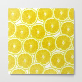 Summer Citrus Lemon Slices Metal Print