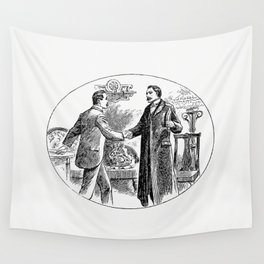 Gentlemen shaking hands from Thrilling Life Stories for the Masses Wall Tapestry