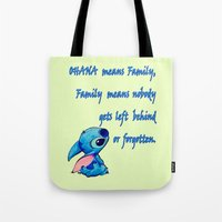 lilo and stitch Tote Bags featuring Lilo & Stitch - Ohana Quote by MarcoMellark