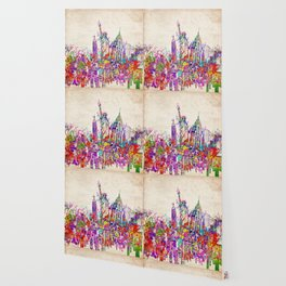 New York skyline colorful collage Wallpaper