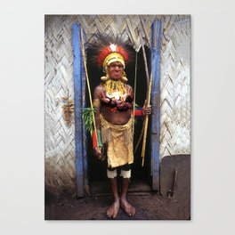 Papua New Guinea Chief in Hut Doorway Canvas Print