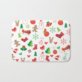 Happy New Year and Christmas Symbols Decoration Bath Mat