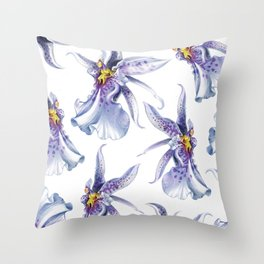 GLOWY ORCHIDS Throw Pillow