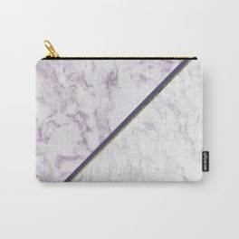 Lavender white faux gold abstract geometric marble Carry-All Pouch
