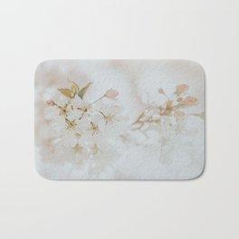 White Cherry Blossom Photo   Plantlife Photography   Atmospheric Blossom Close-up Bath Mat