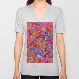 geometric square pixel pattern abstract background in pink blue purple Unisex V-Neck