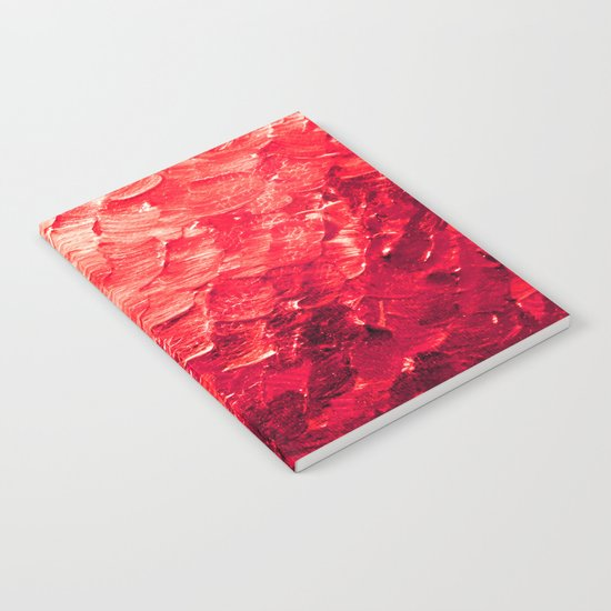 MERMAID SCALES 4 Red Vibrant Ocean Waves Splash Crimson Strawberry Summer Ombre Abstract Painting Notebook