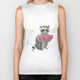 Racoon with a watermelon Biker Tank