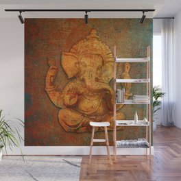 Lord Ganesh On a Distress Stone Background Wall Mural
