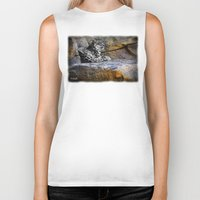 snow leopard Biker Tanks featuring Snow Leopard by Jennifer Rose Cotts Photography