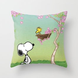 Woodstock in the Cherry Blossoms Posters Throw Pillow