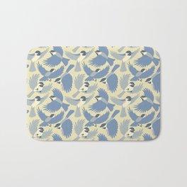 Chickadees  in Blue Bath Mat