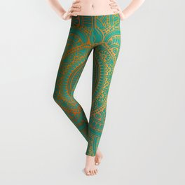 """Sea Turquoise Pattern Mandala Teal Gold"" Leggings"