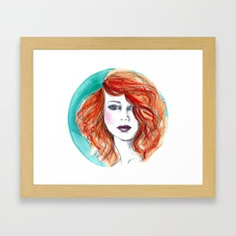 'Circle' Redhead Illustration Framed Art Print