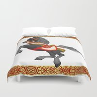 pony Duvet Covers featuring Grey Pony by Moonlake Designs