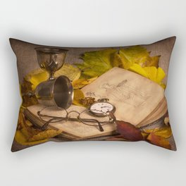 Memories in Autumn - old book glasses and watch still life Rectangular Pillow