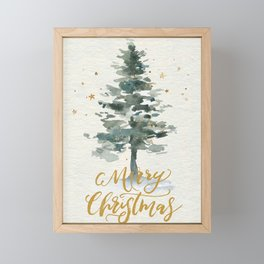 Merry Christmas Watercolor Fir Tree Modern Hand-Lettered Greetings Brush Script Framed Mini Art Print