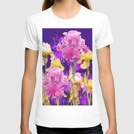 Decorative Contemporary   Pink Yellow & Purple Iris Flowers T-shirt