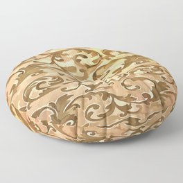 Stylized Foliage Leaves In Gold Floor Pillow
