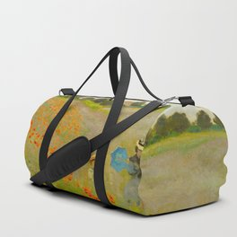 Claude Monet Impressionist Landscape Oil Painting Poppy Field Duffle Bag