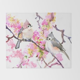Titmice and Cherry Blossom Throw Blanket