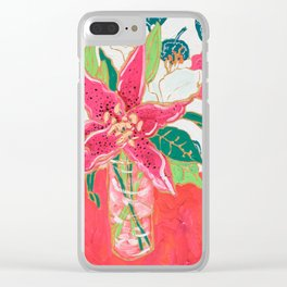 Pink and White Lily Bouquet with Matisse Wallpaper Clear iPhone Case