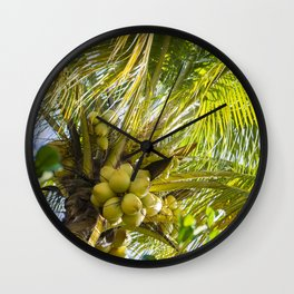 Coconut Palm in Tropical Garden Wall Clock