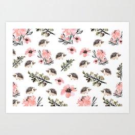 Floral hedgehog Kunstdrucke