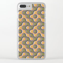 3D ORANGE AND BLUE WAVES Clear iPhone Case