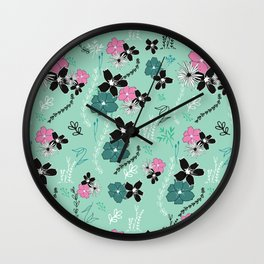 Petite Mint Floral Winter Collection Wall Clock