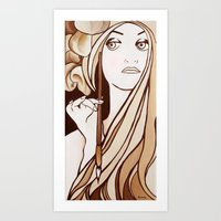 mucha Art Prints featuring My Mucha by Little Bunny Sunshine