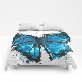 Blue butterfly ink splatter Comforters
