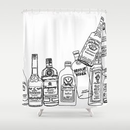 Alcohol Bottles (White) Shower Curtain